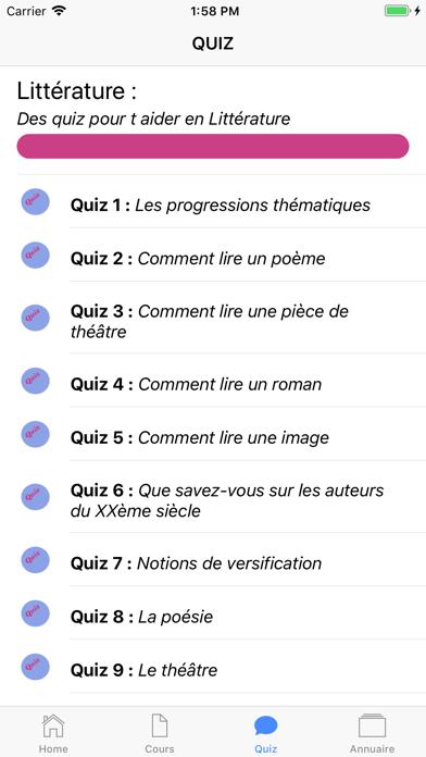 Cours de Littérature screenshot 4