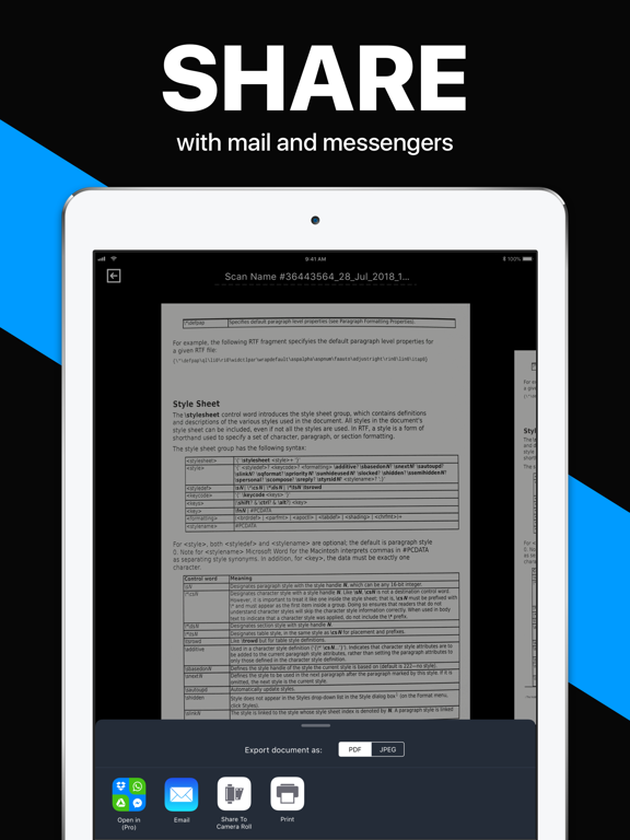 iPad Image of Scanner App: PDF Docs Scan