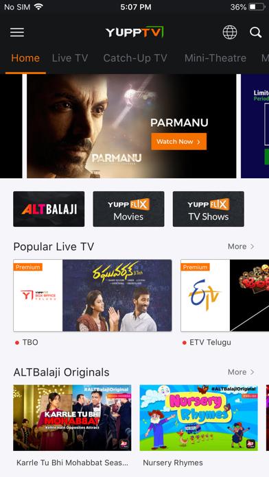 Screenshot #1 pour YuppTV - Live TV & Movies