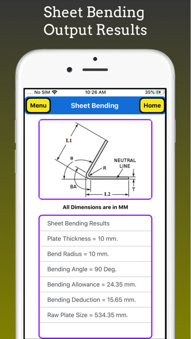 Sheet Bending Calculator Pro screenshot 3