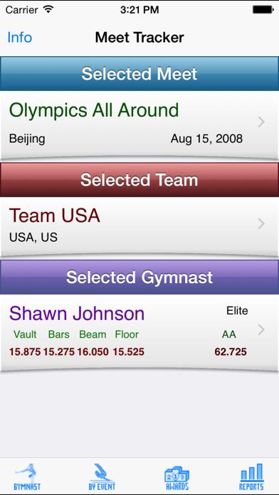 Gymnastics Meet Tracker review screenshots