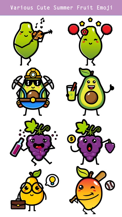 174 Cute Emoji - Summer Fruits screenshot-3