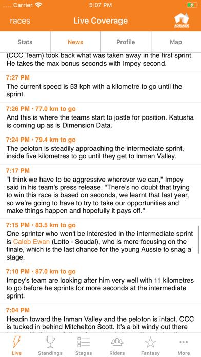 Santos Tour Down Under Tracker screenshot two