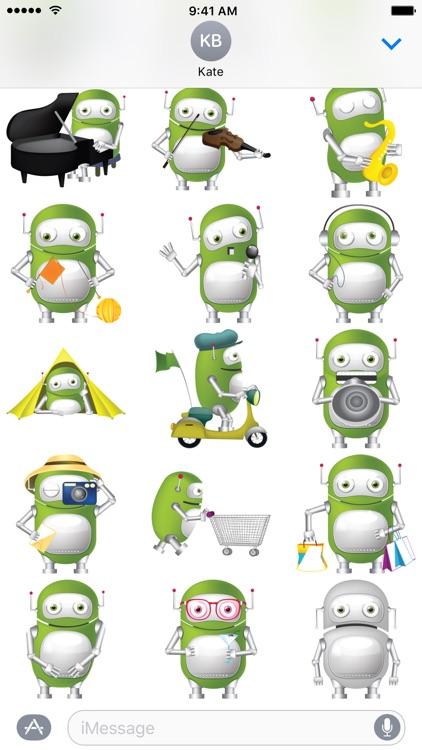 Green Robot Stickers