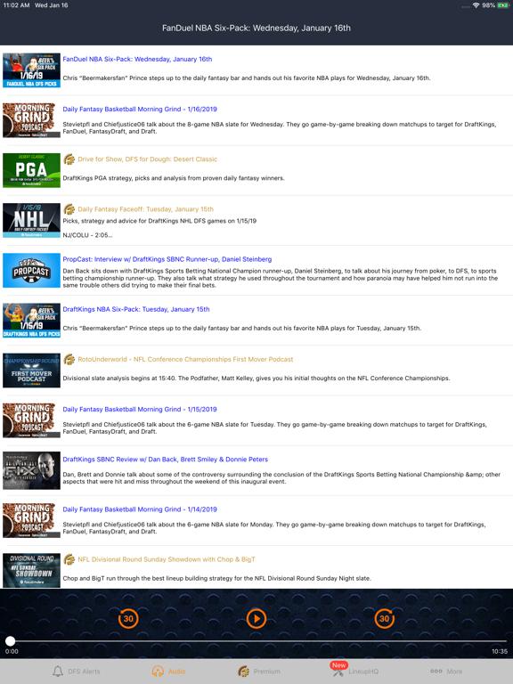 RotoGrinders DFS Lineups, Alerts, Tools & Strategy screenshot