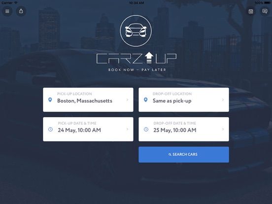 CarzUP - car rental app screenshot
