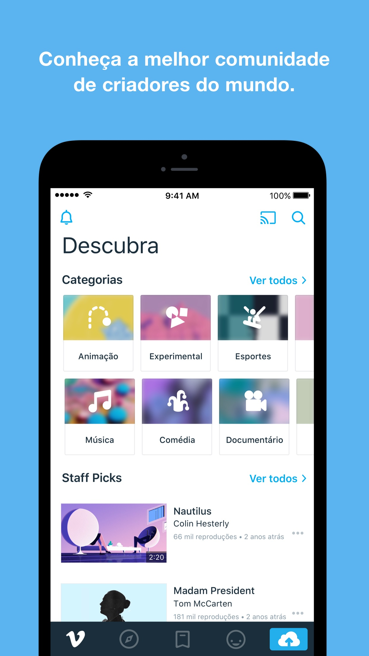Screenshot do app Vimeo