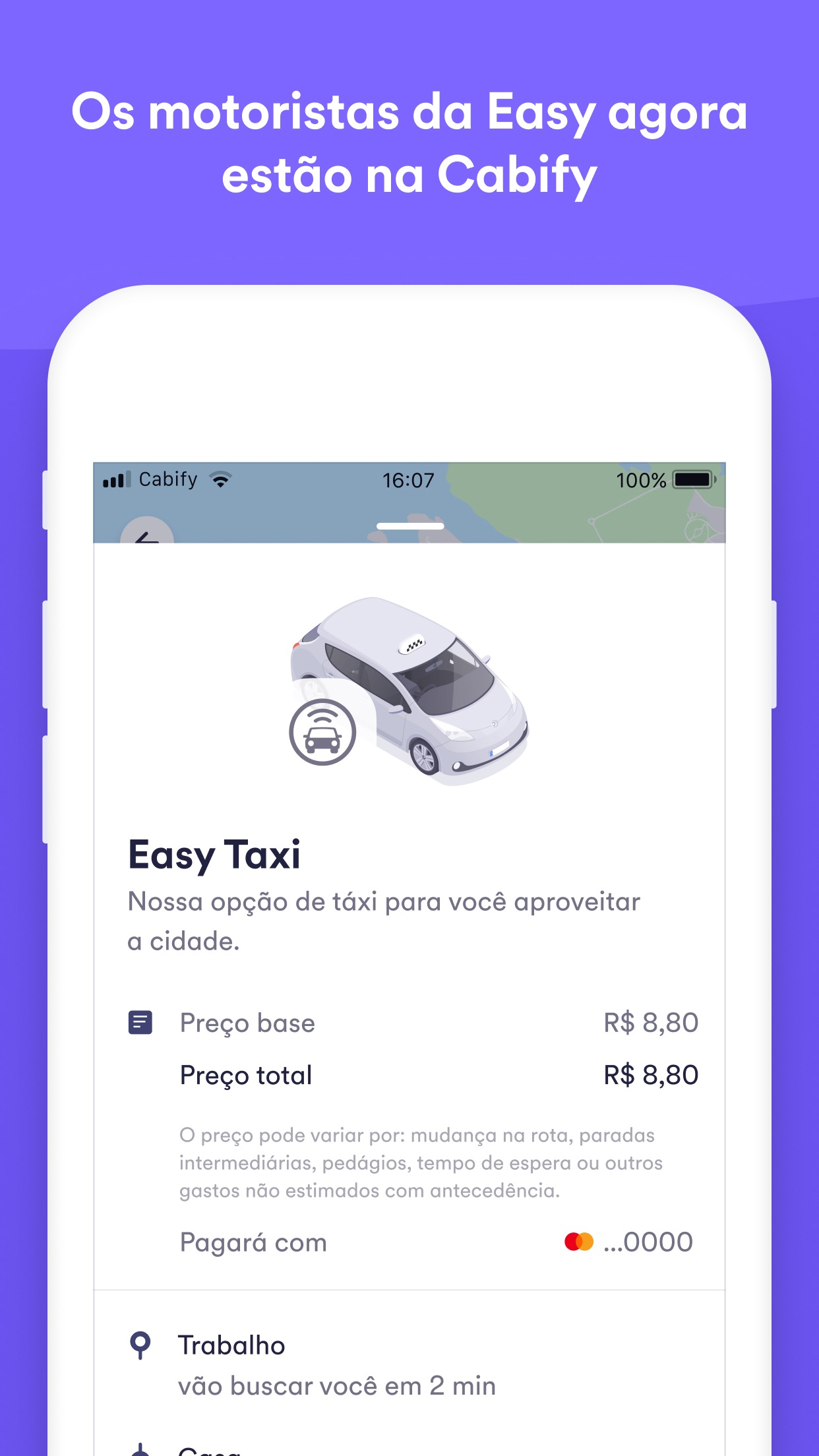Screenshot do app Easy, um app da Cabify