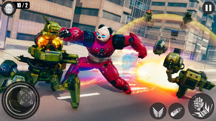 Flying Panda Robots War Battle screenshot-3