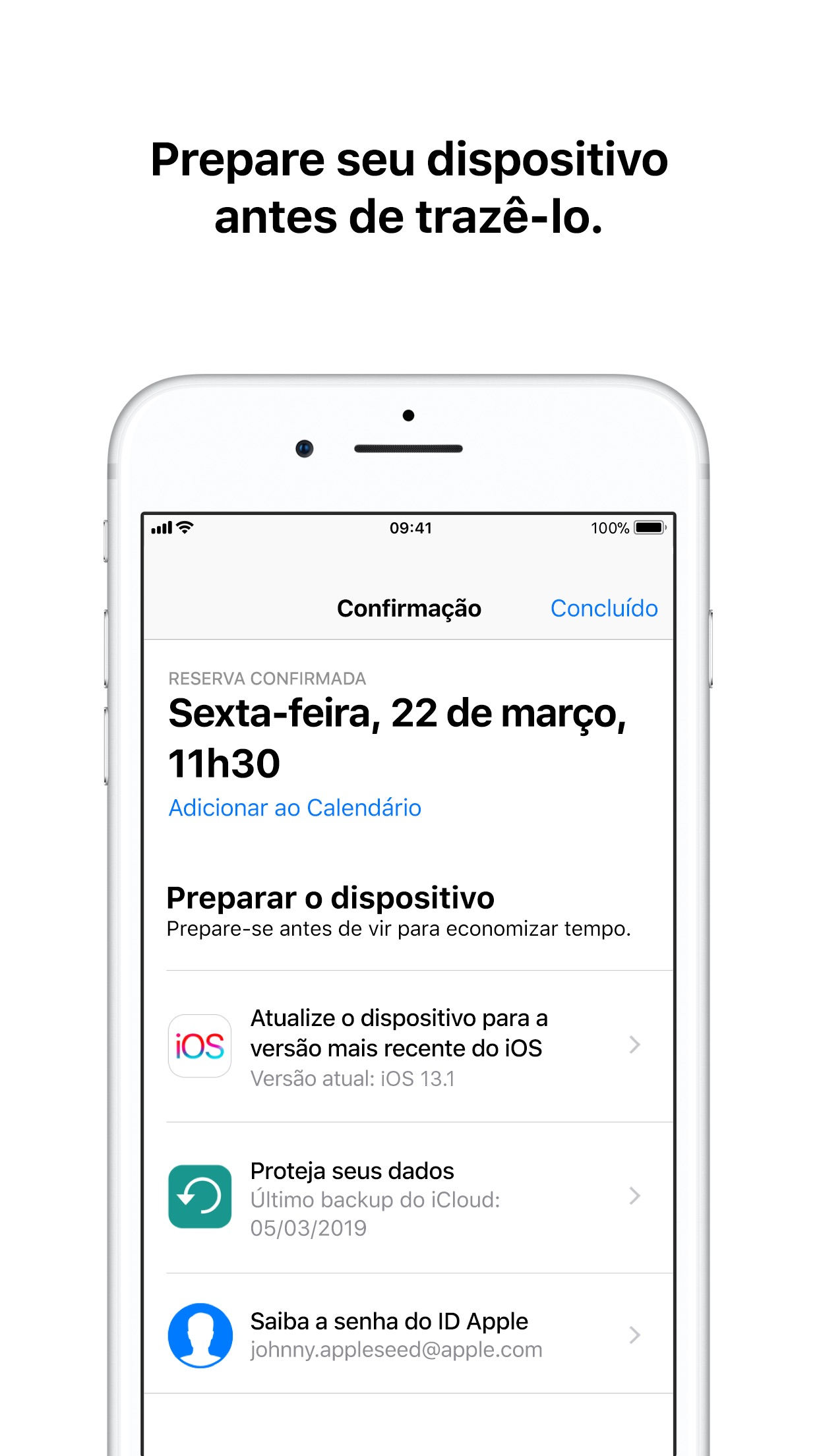 Screenshot do app Suporte da Apple