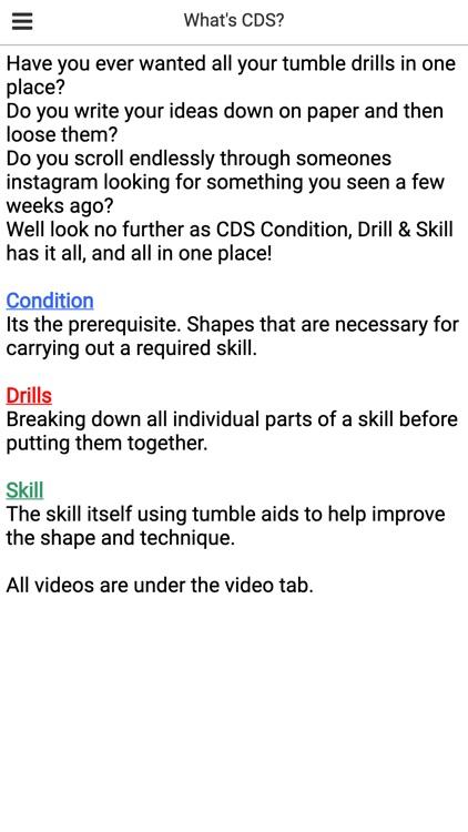C-D-S Condition, Drill & Skill