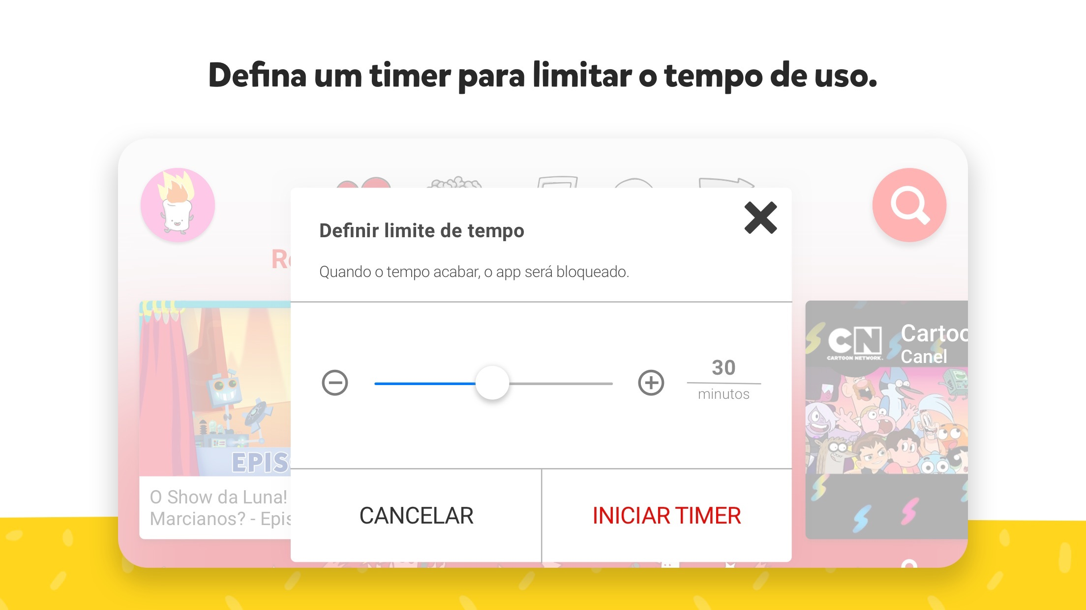 Screenshot do app YouTube Kids