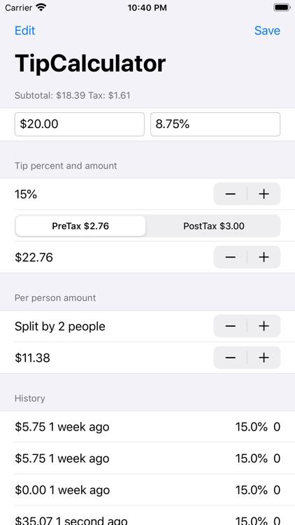 Tip% Calculator & Splitter Pro