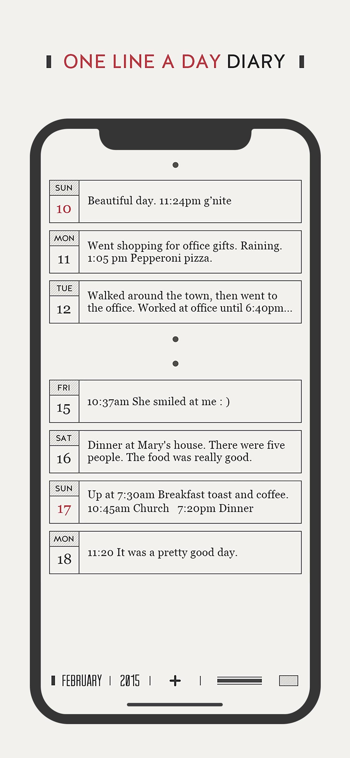 Screenshot do app DayGram - One line a day diary