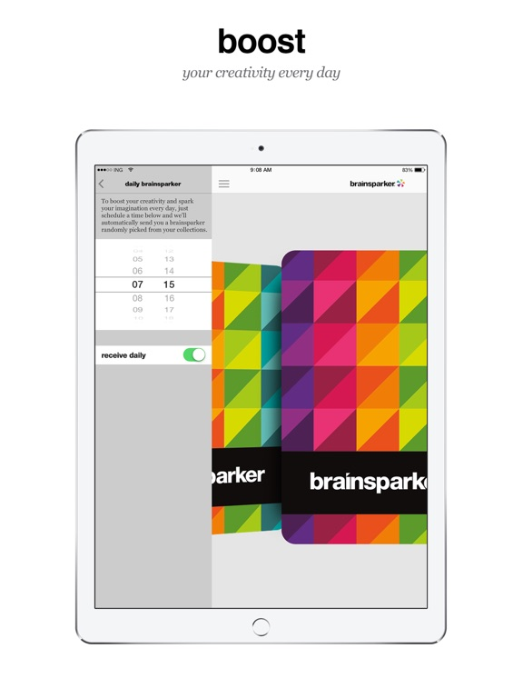 Brainsparker creativity & creative thinking prompts for brainstorming new ideas screenshot