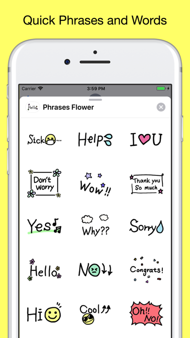 Quick phrases - text stickers app image