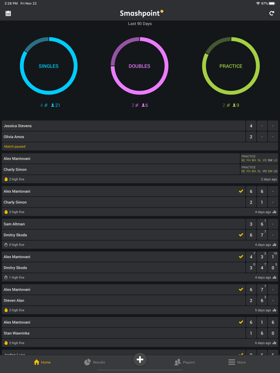 Smashbook - Track Your Tennis Scores, Stats, Friends and Foes like a Pro! screenshot