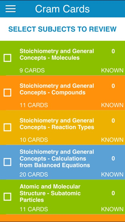 OAT General Chem Cram Cards