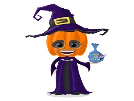 The HalloweenCostumeAvatarsNVT is a small sticker, which are show the 50 Halloween Costume Avatars NVT sticker in cartoon