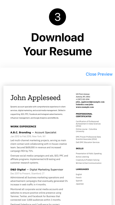 Resume Builder+ Professional Screenshot
