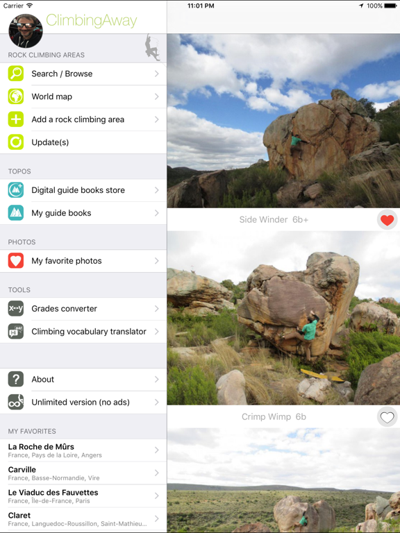 ClimbingAway, the ultimate rock climbing app screenshot