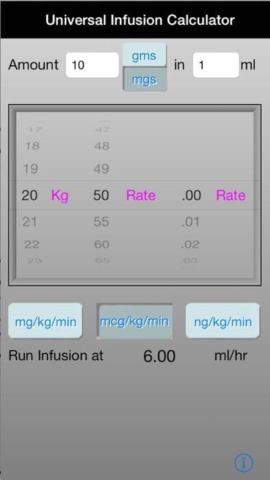 anesthesia infusion calculator screenshot one