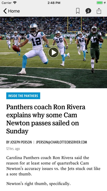 News for The Carolina Panthers