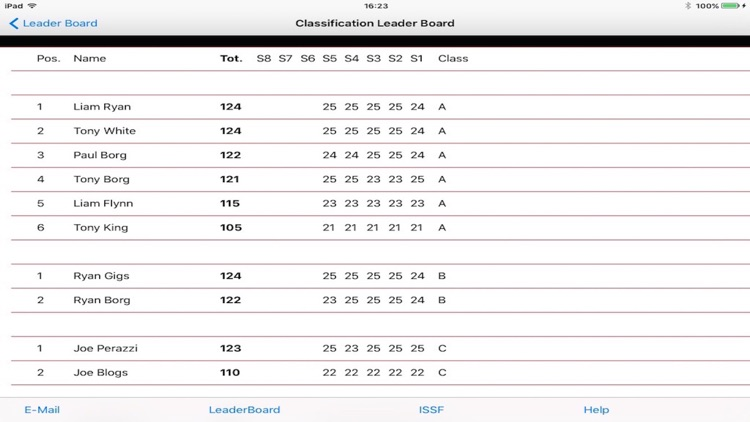 Clay Shooting Club Score Card