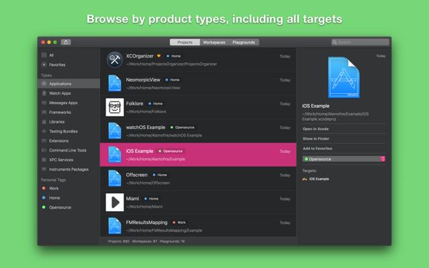 XCOrganizer app screenshot
