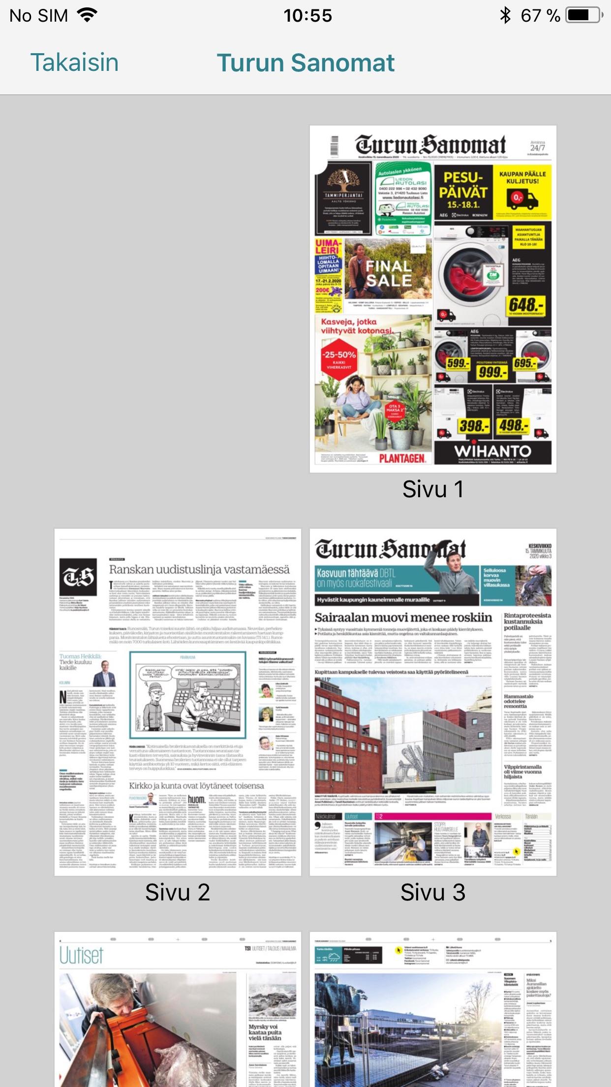 Turun Sanomat näköislehti Screenshot