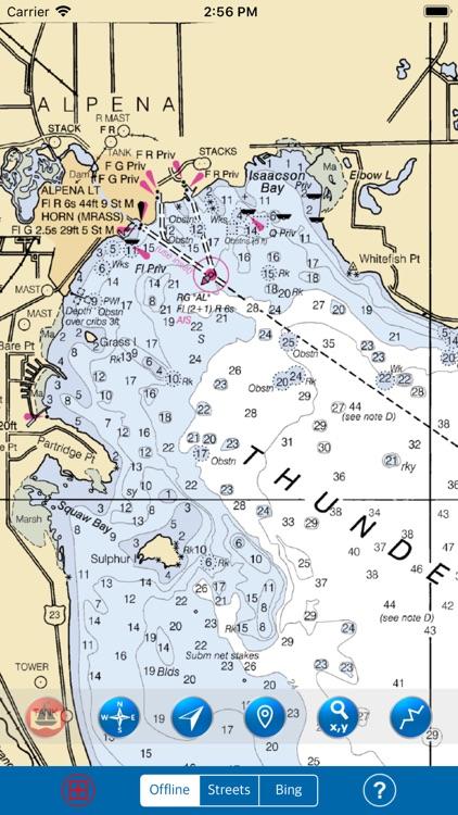 Huron & Erie Lakes Marine Map