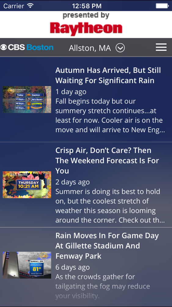 CBS Boston Weather App for iPhone - Free Download CBS Boston Weather