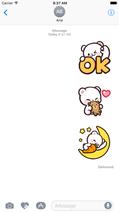Adorable Bear Milk Daily Emoji screenshot 1