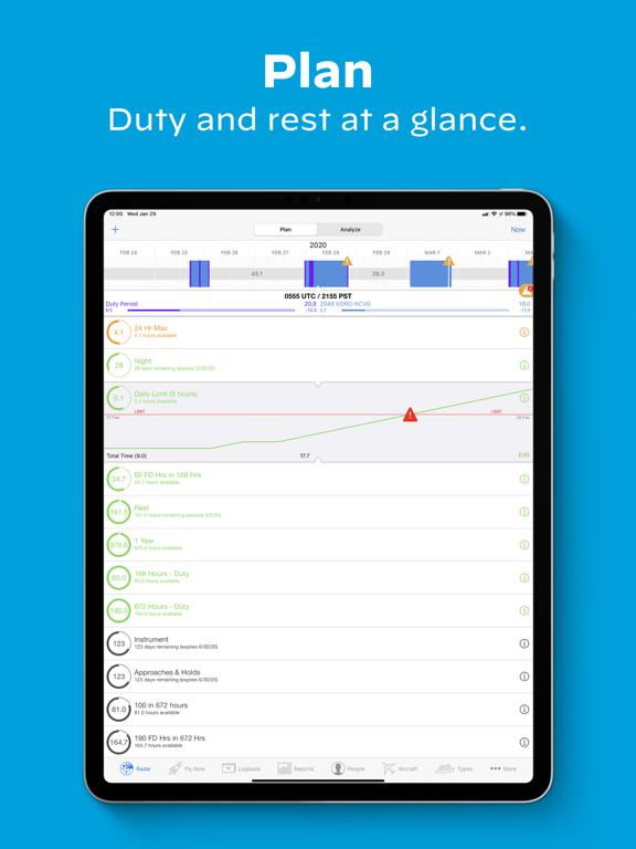 LogTen Pilot Logbook iPad app afbeelding 1