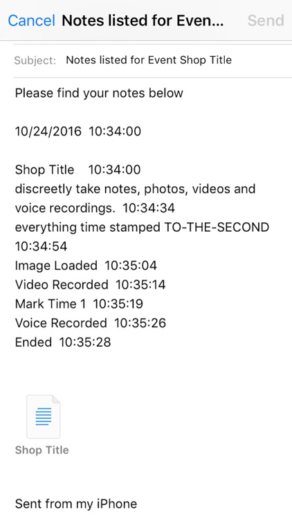 Shop It Timer Notes