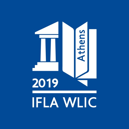 na granatowy tle białe logo kongresu 2019 z Aten IFLA WLIC