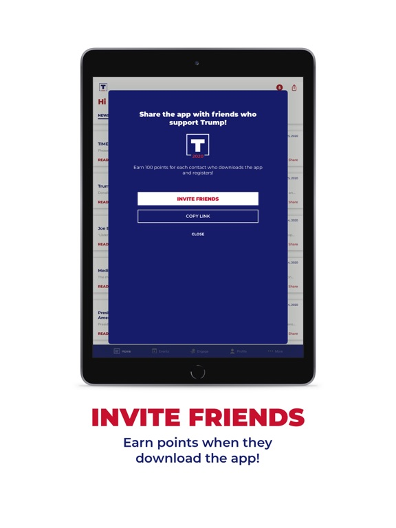 iPad Image of Official Trump 2020 App