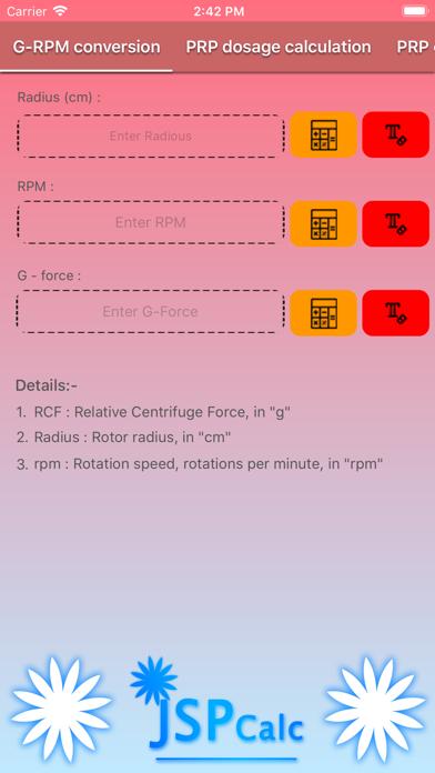 jspCalc -Centrifuge calculator screenshot 2