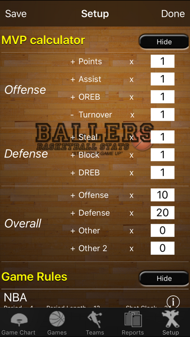 Ballers Basketball Stats review screenshots