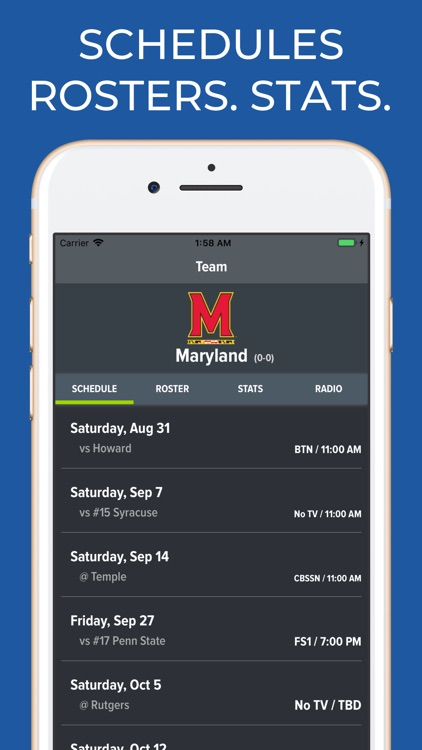 Maryland Football Schedules