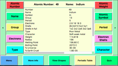Periodic Table Facts Screenshot