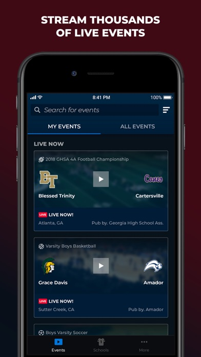 Screenshot for NFHS Network Live in Brazil App Store