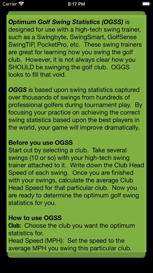 Optimum Golf Swing Statistics App 截图