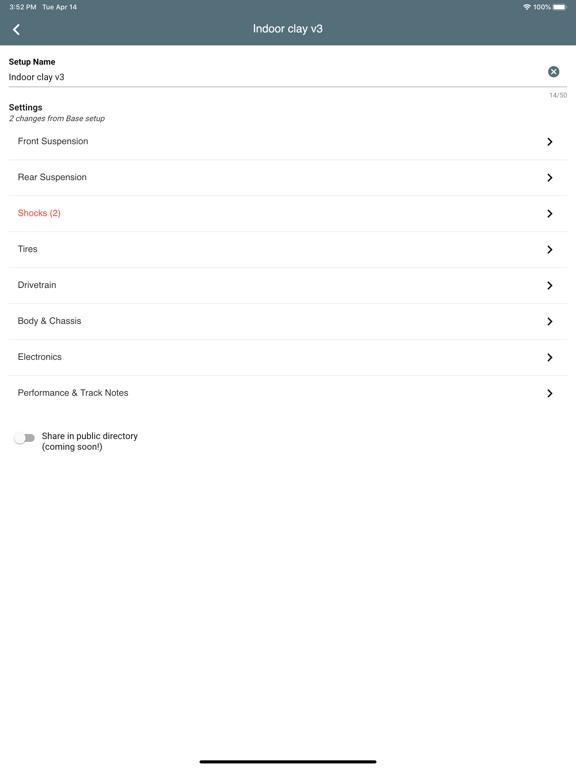 Ipad Screen Shot So Dialed - RC Setup App 2