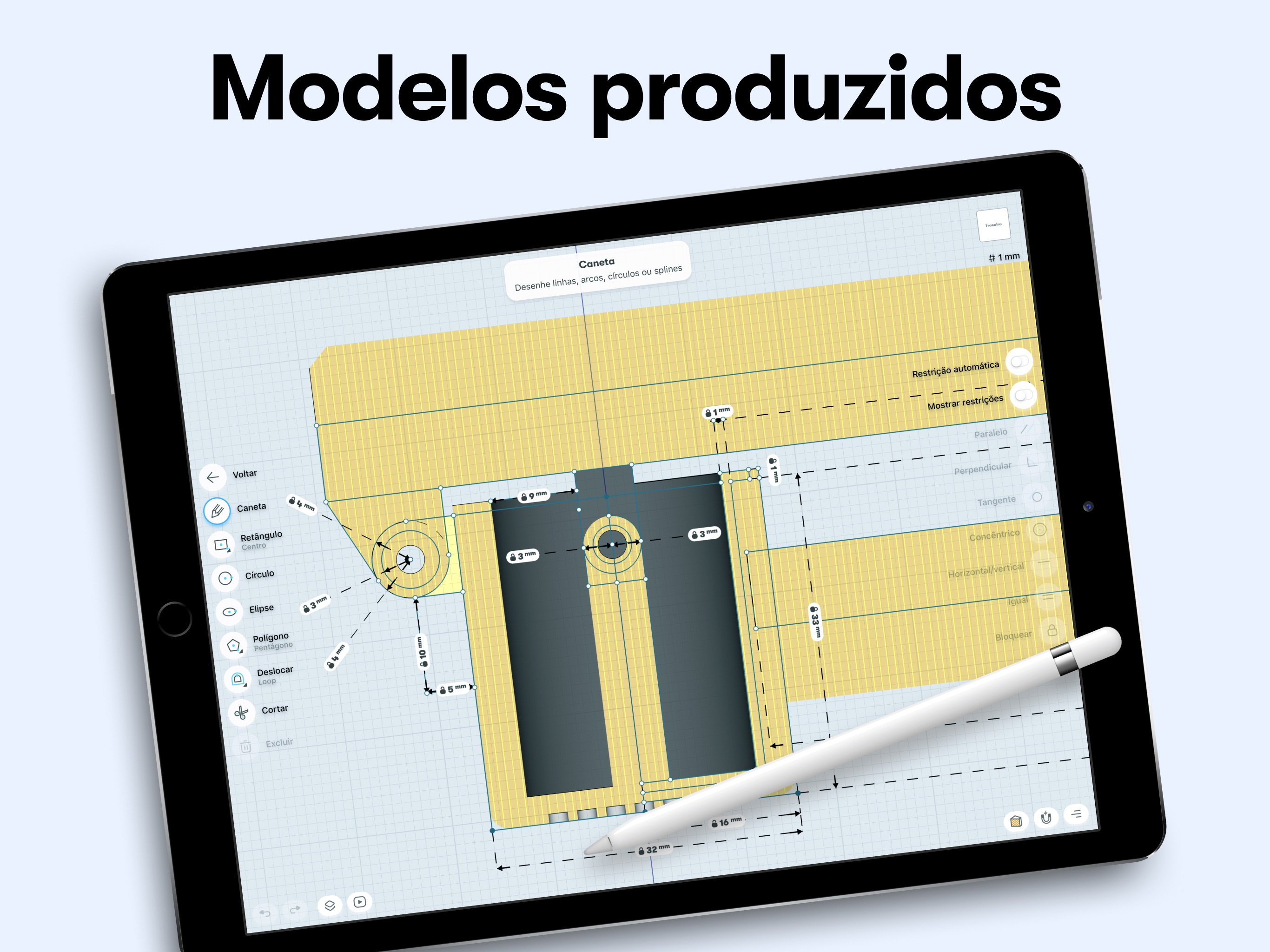Screenshot do app Shapr: CAD para modelagem 3D