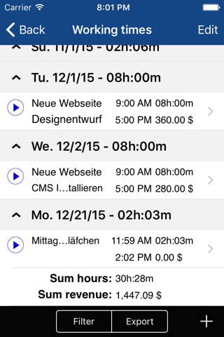 Screenshot of Qlaqs Timesheet Pro