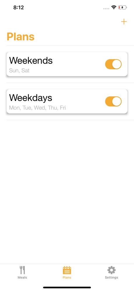 Meal Reminders app screenshot