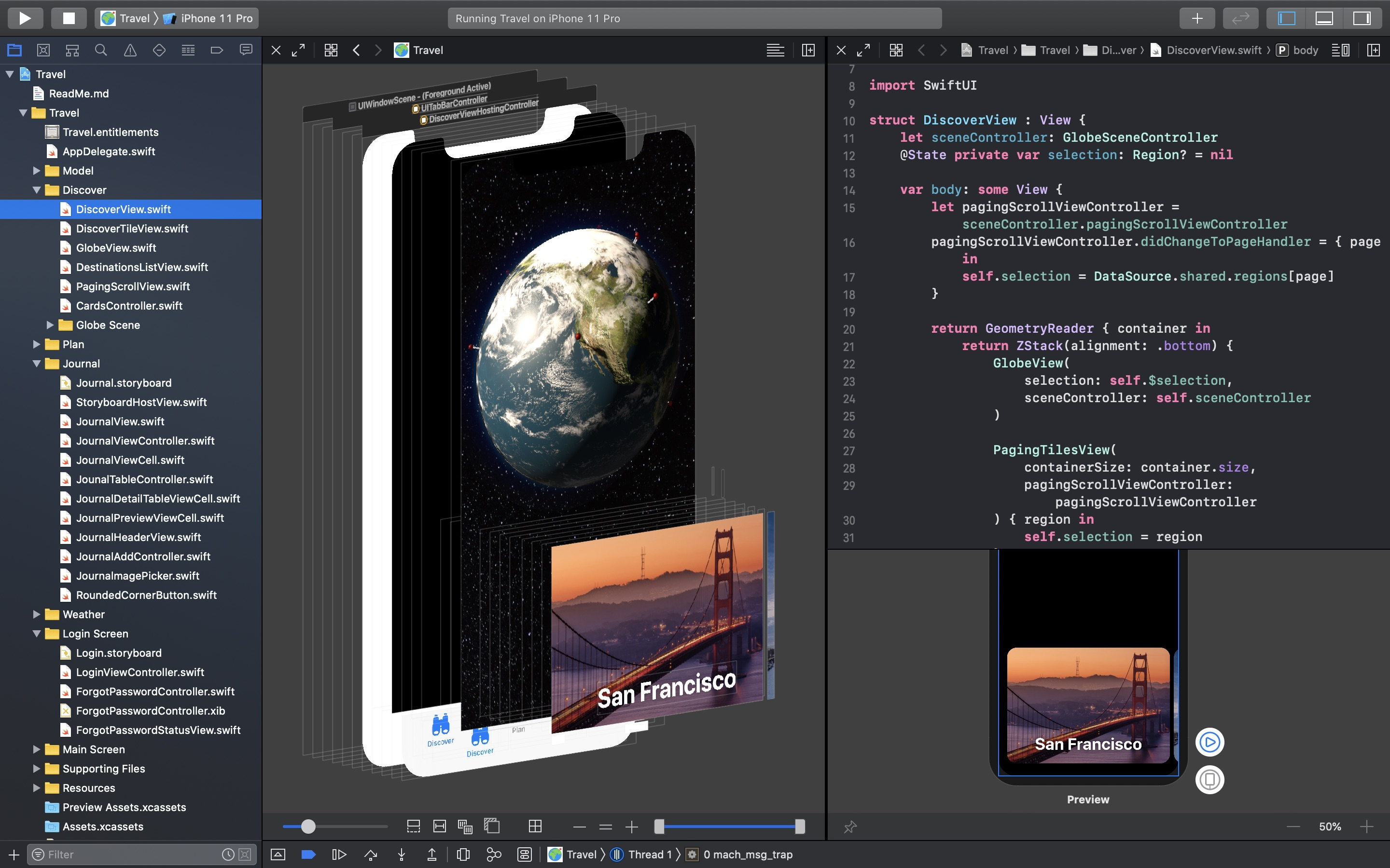 Screenshot do app Xcode