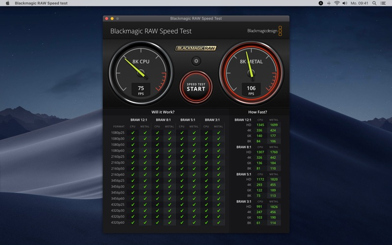 Blackmagic RAW Speed Test for Mac