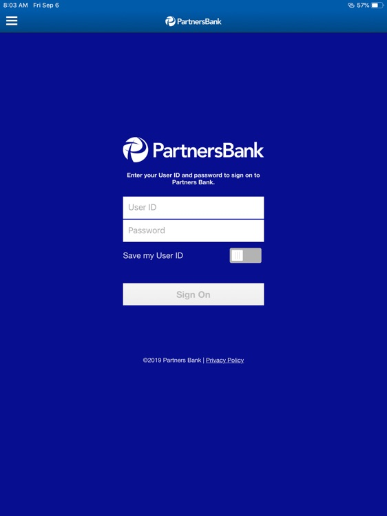 Partners Bank for iPad